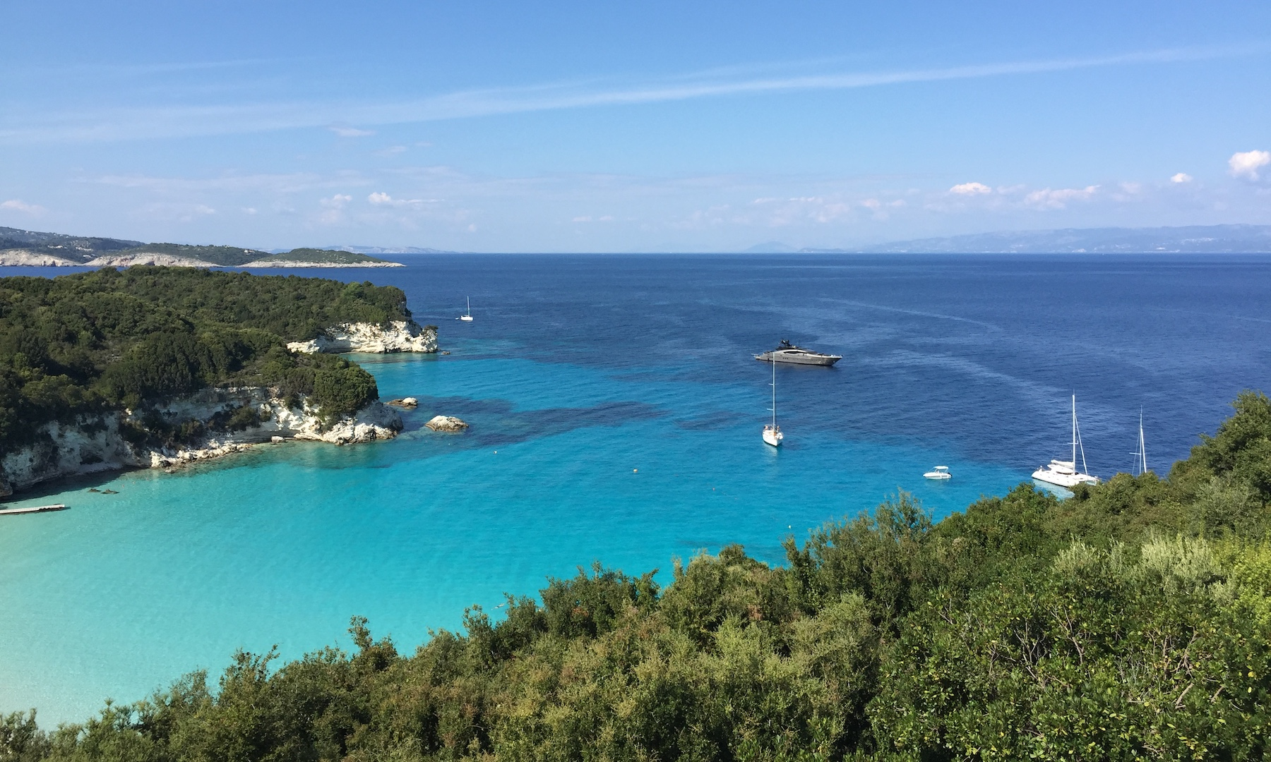 View from the Bella Vista restaurant in Antipaxos, Greece